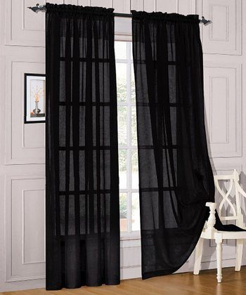 Black Voile Pocket Curtain Panel - Set of Two