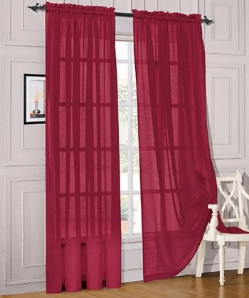 Burgundy Voile Pocket Curtain Panel - Set of Two