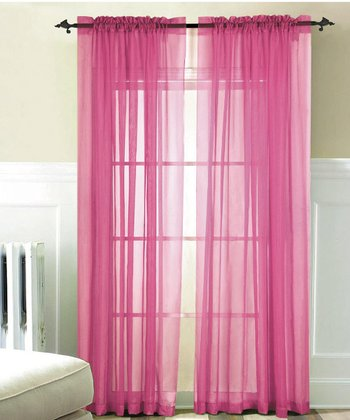 Pink Voile Curtain Panel - Set of Two