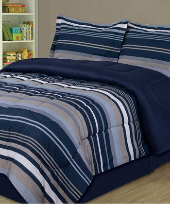 Blue & Slate Stripe Comforter Set