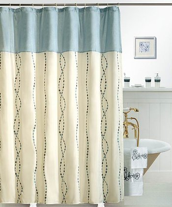 Blue Raindrops Shower Curtain
