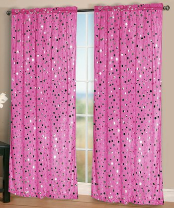 Pink Rock It Curtain Panel - Set of Two