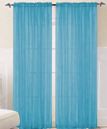 Bright Aqua Sparkle Curtain Panel - Set of Two
