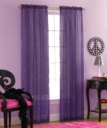 Purple & Black Zebra Voile Curtain Panel - Set of Two