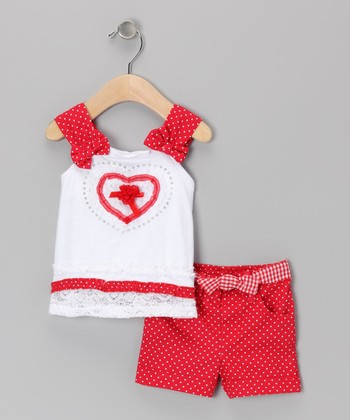 Red Polka Dot Heart Tunic & Shorts - Infant
