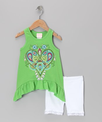 Green Heart Sidetail Tank & Shorts - Infant & Toddler