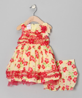 Coral & Yellow Floral Ruffle Dress - Infant, Toddler & Girls