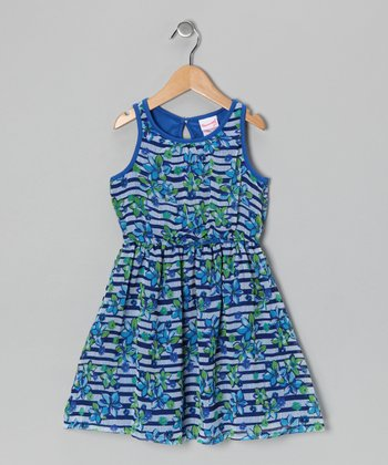 Blue Floral Stripe Dress - Infant & Toddler