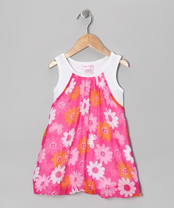 Dark Pink Daisy Bubble Dress - Girls