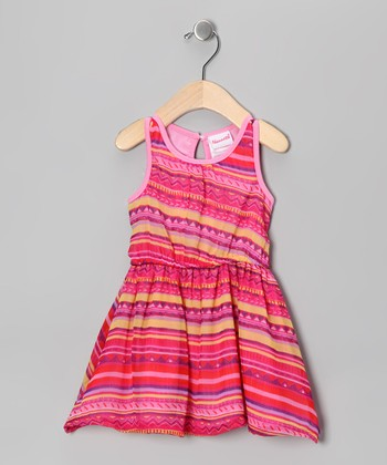 Bright Pink Stripe Fiesta Dress - Infant
