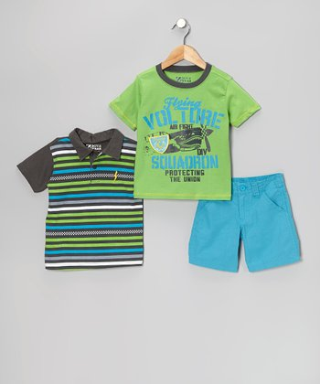 Green & Blue Plane Shorts Set - Boys