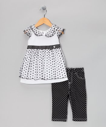 Black & White Polka Dot Tunic & Pants - Infant & Toddler