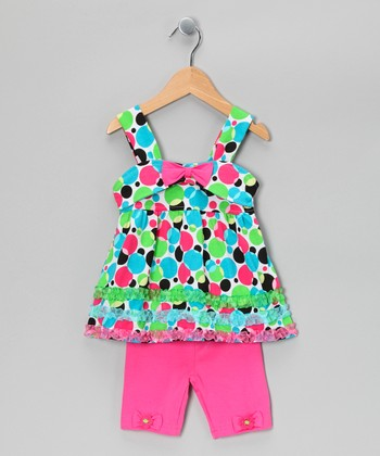 Pink Polka Dot Tunic & Shorts - Toddler