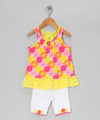 Yellow & Pink Floral Tunic & Shorts - Toddler