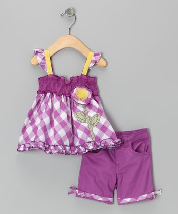 Purple Plaid Flower Tunic & Shorts - Infant