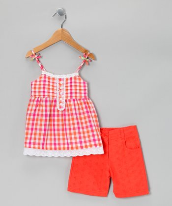 Pink Plaid Tunic & Shorts - Infant, Toddler & Girls