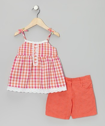 Pink Checkerboard Tunic & Shorts - Infant, Toddler & Girls