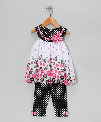 Black & Pink Floral Bubble Tunic & Pants - Infant
