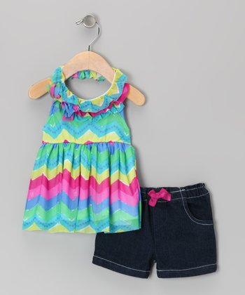 Blue Zigzag Halter Tunic & Denim Shorts - Toddler & Girls