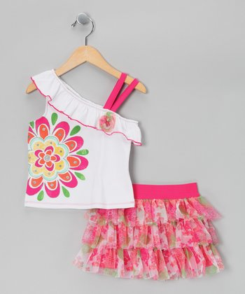 Pink & White Floral Top & Tiered Ruffle Skirt - Infant