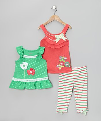 Green Stripe Pants Set - Toddler