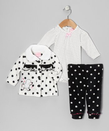 White Polka Dot & Bow Pants Set - Infant
