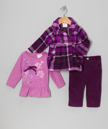 Plum Plaid Peacoat Set - Infant