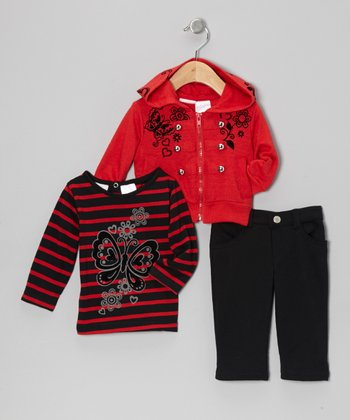 Red & Black Zip-Up Hoodie Set - Infant