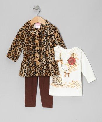 Brown Leopard Jacket Set - Infant