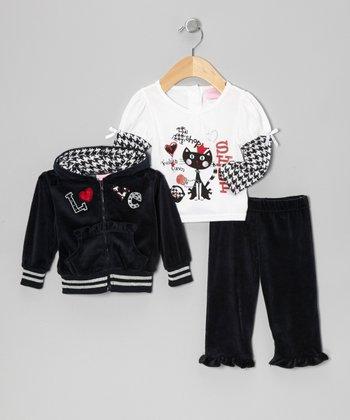 Black 'Love' Zip-Up Hoodie Set - Infant