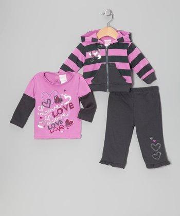 Purple Stripe Zip-Up Hoodie Set - Infant