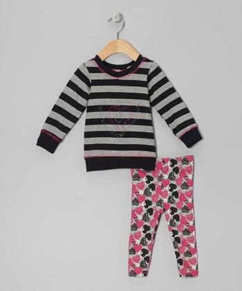 Gray Stripe Top & Heart Leggings - Infant