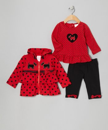 Red Scottie Dog Zip-Up Hoodie Set - Infant