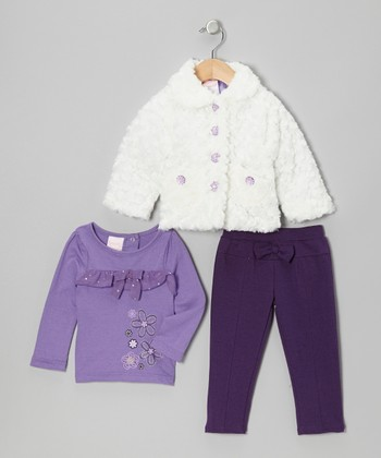 Lilac & White Faux Fur Jacket Set - Infant