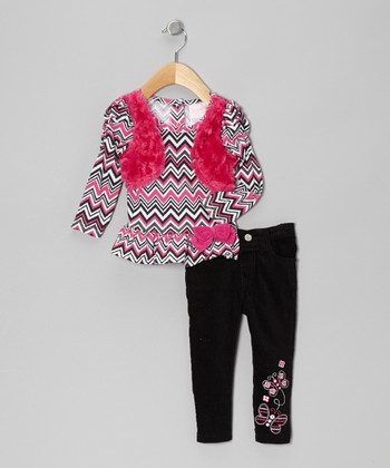 Pink Zigzag Top & Black Embroidered Pants - Infant