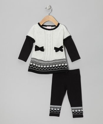 Gray Fair Isle Button Sweater Tunic & Leggings - Infant