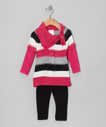 Pink Stripe Sweater Tunic & Black Leggings - Infant