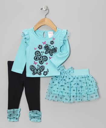Turquoise Ruffle Tiered Skirt Set - Infant