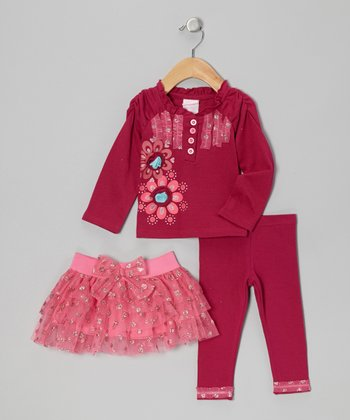 Burgundy Ruffle Tiered Skirt Set - Infant, Toddler & Girls