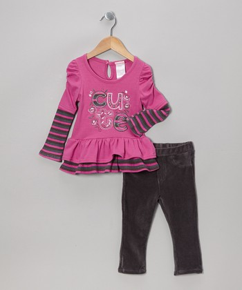 Purple 'Cute' Layered Top & Charcoal Leggings - Toddler