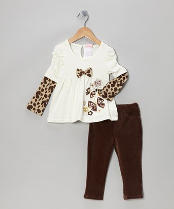 Cream Layered Top & Brown Leggings - Toddler