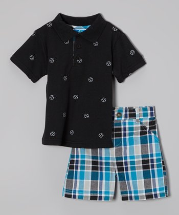 Weeplay Kids Black Polo & Plaid Shorts - Infant & Toddler
