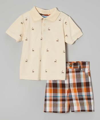 Weeplay Kids Ivory Polo & Plaid Shorts - Infant & Toddler
