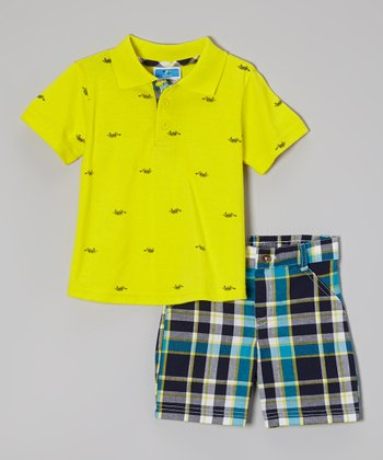 Weeplay Kids Yellow Polo & Plaid Shorts - Infant & Toddler