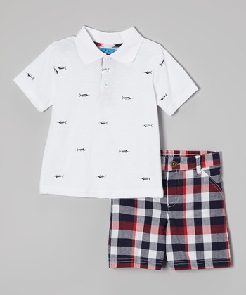 Weeplay Kids White Polo & Plaid Shorts - Infant & Toddler