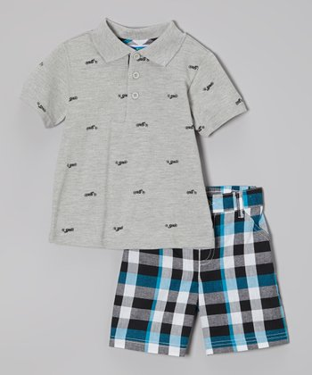 Weeplay Kids Gray Polo & Plaid Shorts - Infant & Toddler