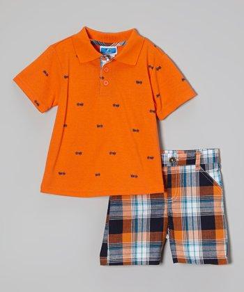 Weeplay Kids Orange Polo & Plaid Shorts - Infant & Toddler
