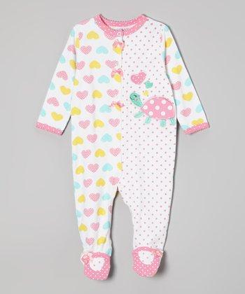 Weeplay Kids White & Pink Turtle Footie - Infant