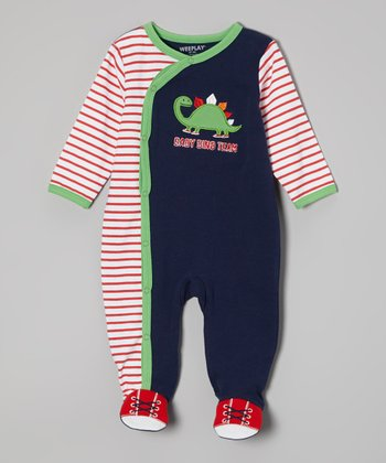 Weeplay Kids Navy & Red Dino Footie - Infant