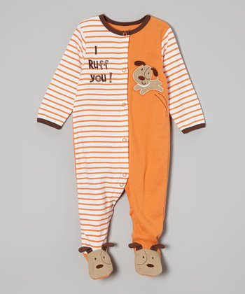 Weeplay Kids Orange Dog Footie - Infant